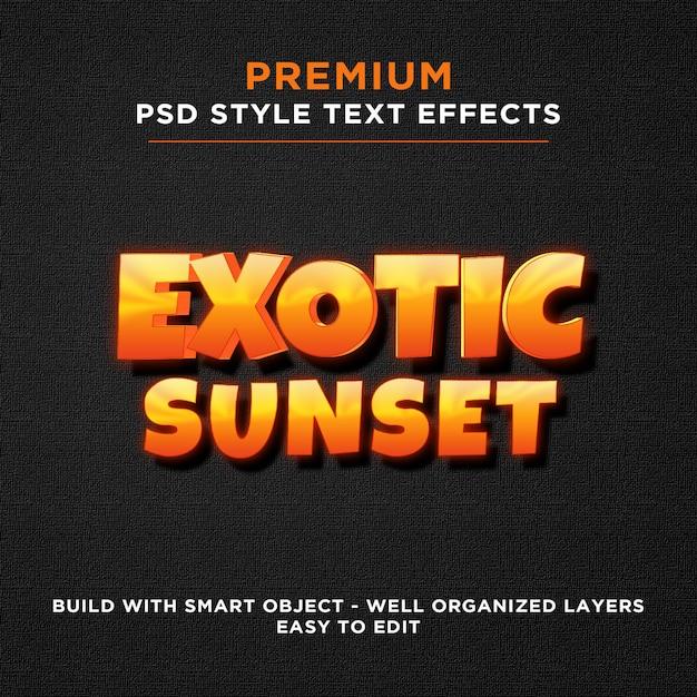 Exotische zonsondergang oranje gele teksteffecten Premium Psd