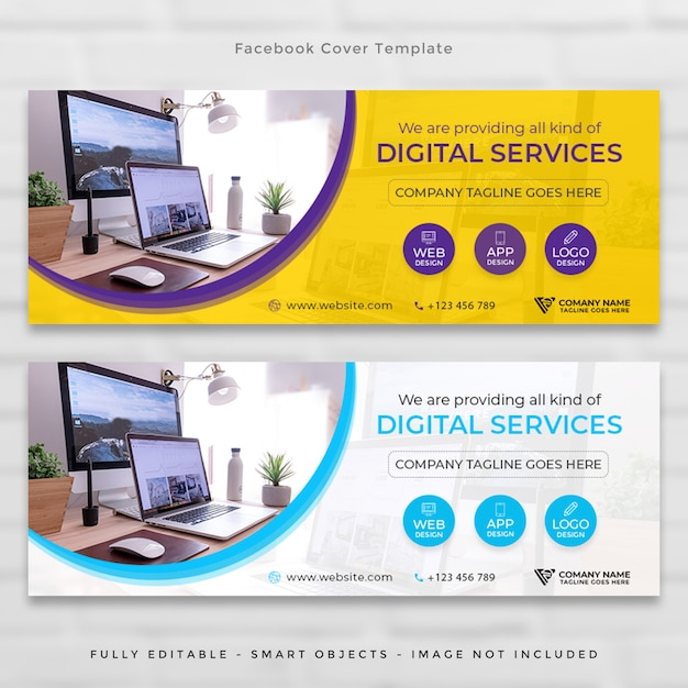 Facebook corporate agency tijdlijn omslagset Premium Psd