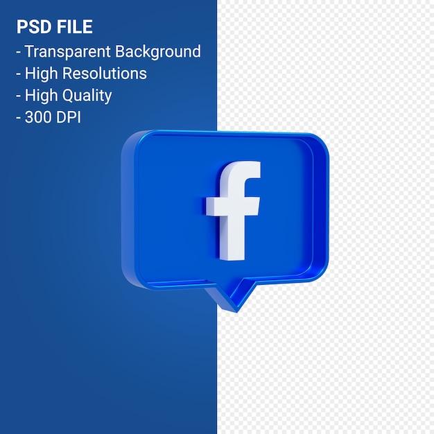 Facebook-logo bij 3d-weergave geïsoleerd melden Premium Psd