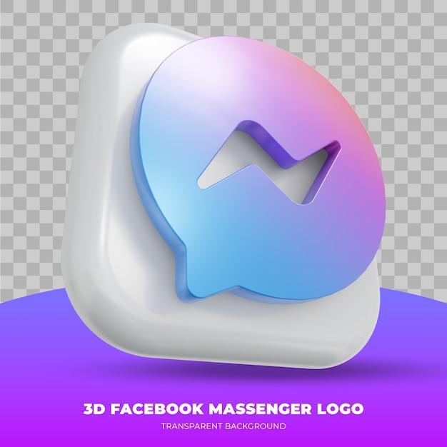 Facebook massenger-logo geïsoleerd in 3d-rendering Premium Psd