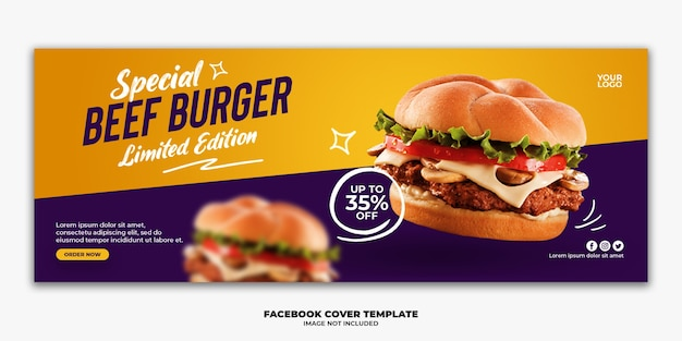 Facebook post-sjabloon speciaal fastfood menu burger Premium Psd