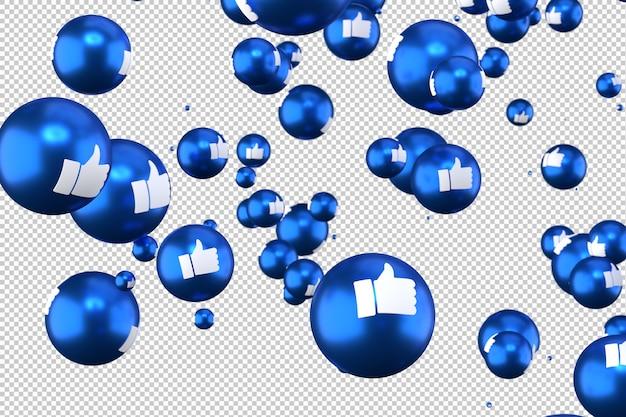 Facebook-reacties zoals emoji 3d renderen op transparante achtergrond, sociale media ballonsymbool met like Premium Psd