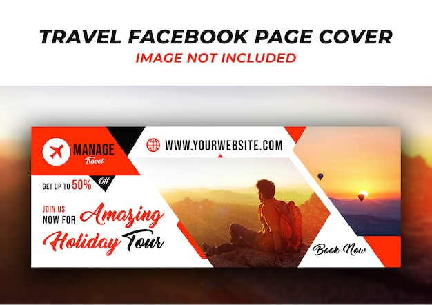 Facebook sjabloon tijdlijn voorbladsjabloon reizen Premium Psd