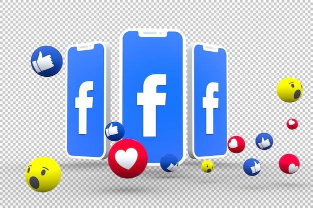 Facebook-symbool op scherm smartphone of mobiel en facebook reacties liefde, wow, zoals emoji 3d render Premium Psd