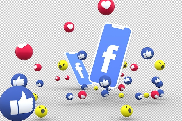 Facebook-symbool op scherm smartphone Premium Psd