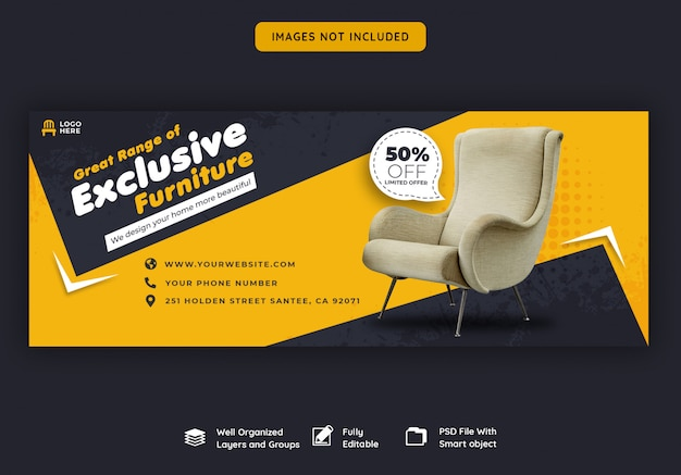 Facebook voorbladsjabloon voor meubels te koop Premium Psd