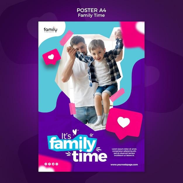 Familie tijd concept poster sjabloon Gratis Psd