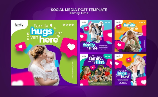 Familie tijd concept sociale media post sjabloon Gratis Psd