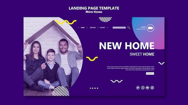 Familie verhuizen naar een nieuwe startpagina van het huis Gratis Psd