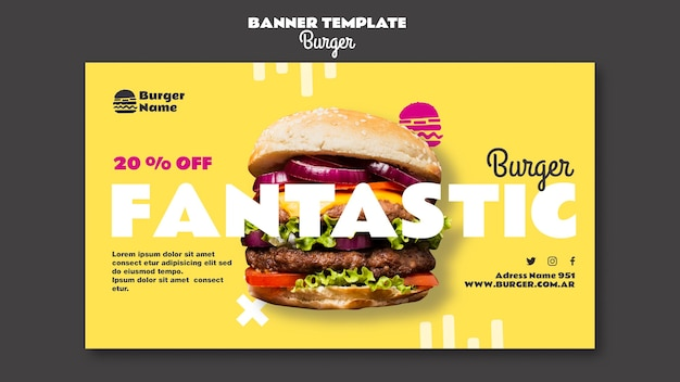 Fantastische hamburger websjabloon voor spandoek Gratis Psd
