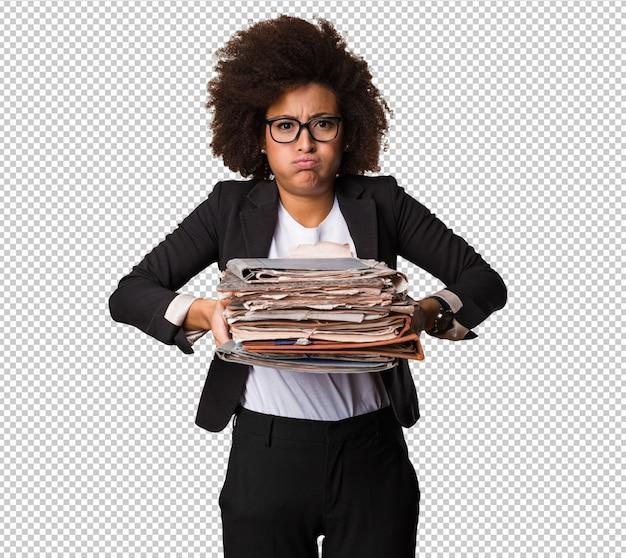 Fascicoli aziendali della donna di colore di affari Psd Premium