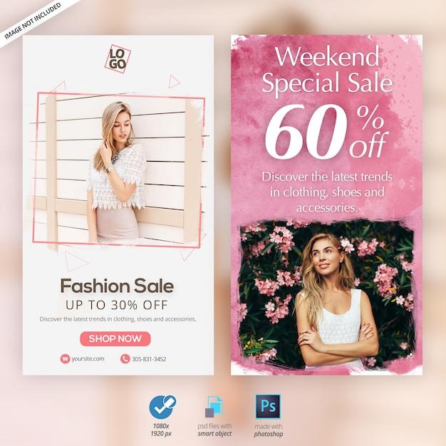 Fashion instagram stories ads banners PSD Premium