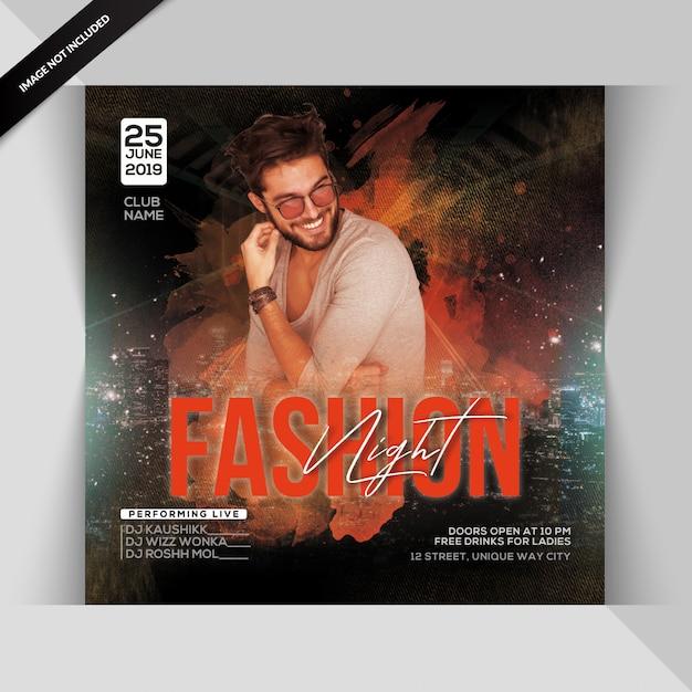 Fashion night party flyer Premium Psd