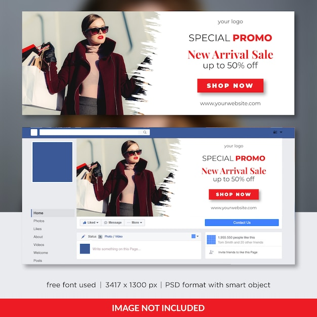 Fashion sale facebook voorbladsjabloon Premium Psd