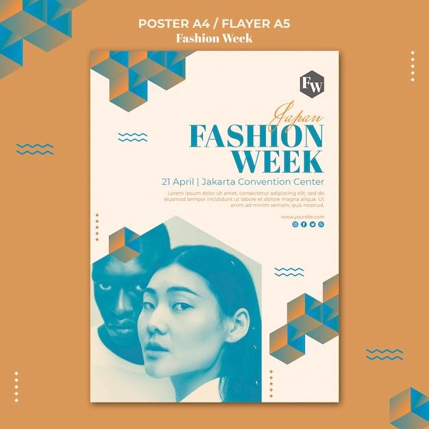 Fashion week flyer sjabloon stijl Gratis Psd