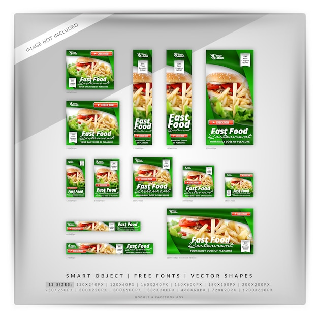 Fast food google e facebook banner Psd Premium