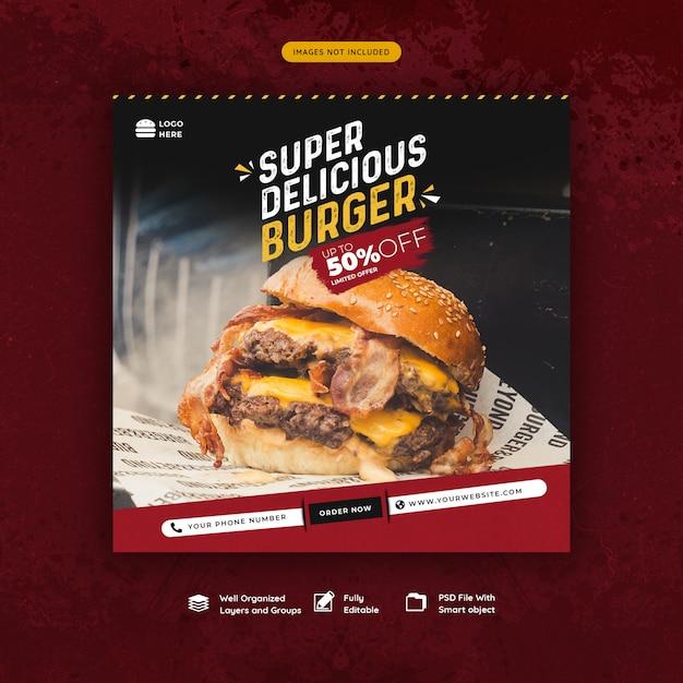 Fast-food hamburger sociale media post sjabloon Premium Psd