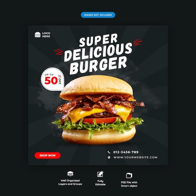 Fast-food hamburger sociale media vierkante banner sjabloon premium psd Premium Psd