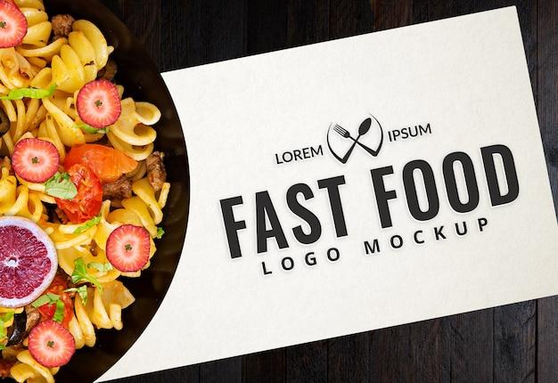Fast food logo mockup Psd Premium