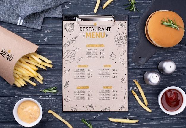 Fast-food menu concept mock-up Gratis Psd