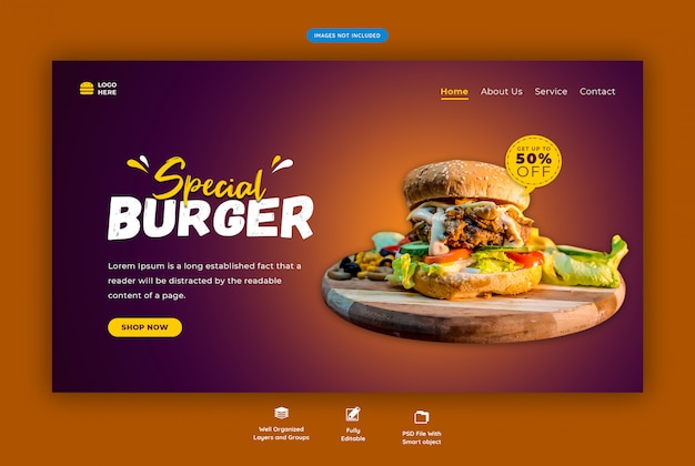 Fast-food menu of burger bestemmingspagina Premium Psd