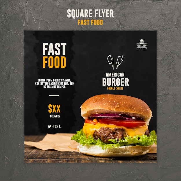 Fast food vierkante flyer Gratis Psd
