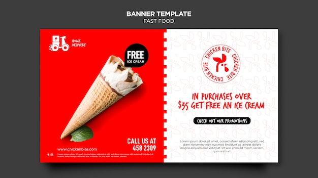 Fastfood advertentie sjabloon banner Gratis Psd