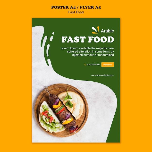 Fastfood concept poster sjabloon Gratis Psd