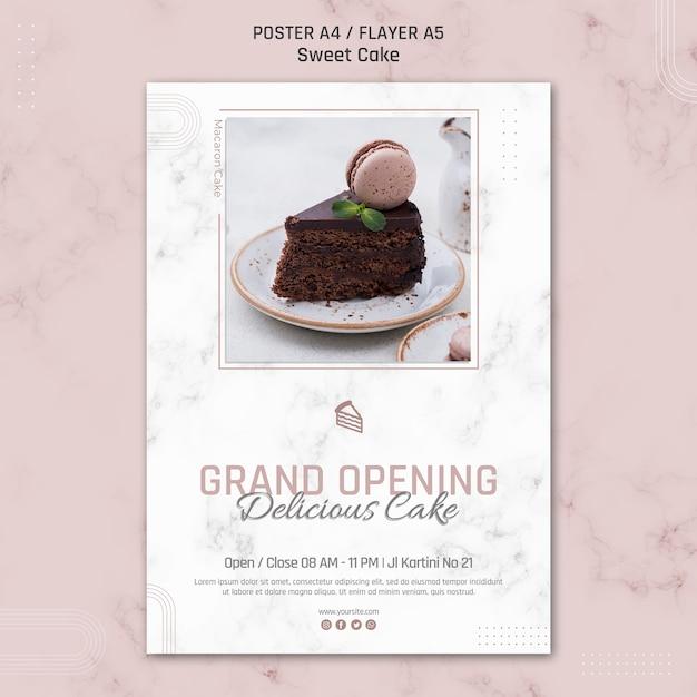 Feestelijke opening heerlijke taart poster sjabloon Gratis Psd