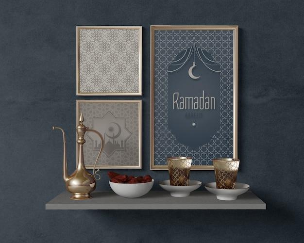 Feestelijke ramadan regeling met frames mock-up Gratis Psd