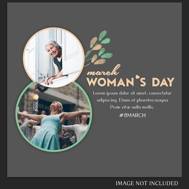 Felice giorno della donna e 8 marzo saluto instagram post template Psd Premium