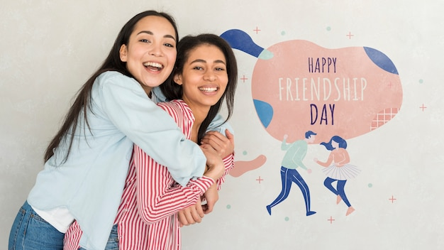 Felice giorno di amicizia migliori amiche delle giovani donne che celebrano il giorno di amicizia Psd Gratuite