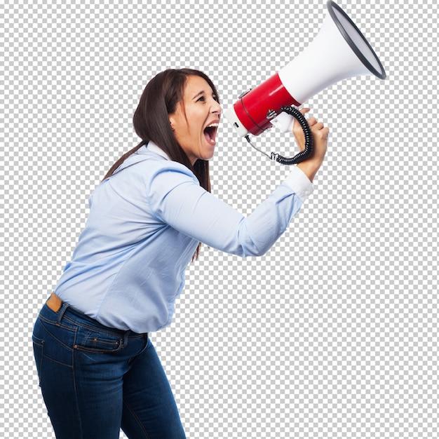 Felice giovane donna con megafono Psd Premium