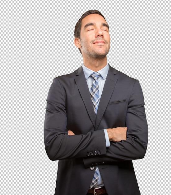 Felice giovane uomo d'affari rilassante Psd Premium