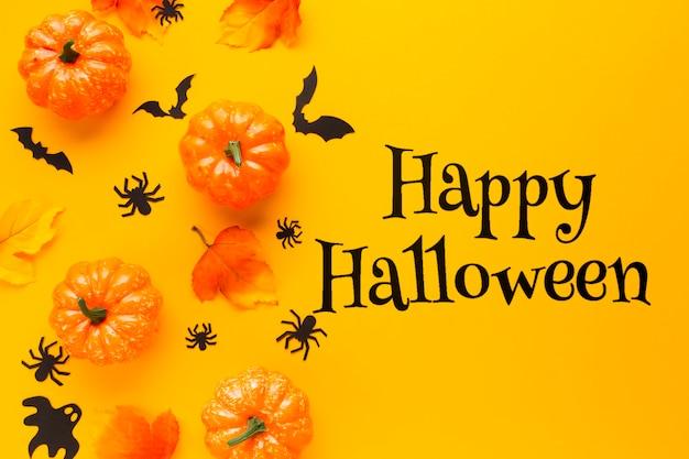 Felice messaggio di halloween con zucche Psd Gratuite