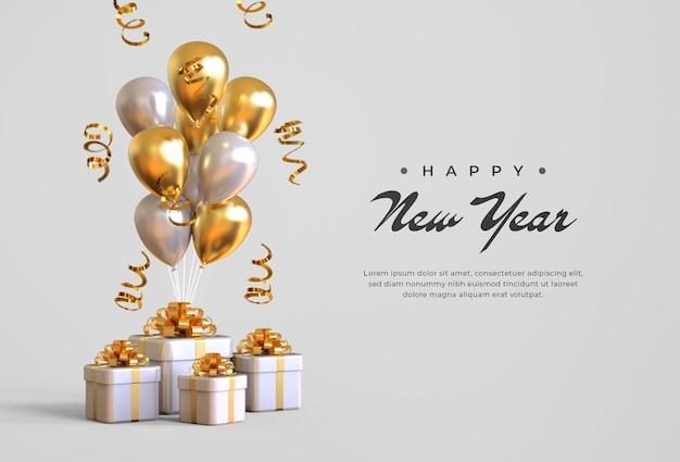 Feliz año nuevo 2021 con cajas de regalo, globos y confeti PSD Premium