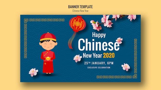 Feliz año nuevo chino banner con linterna PSD gratuito
