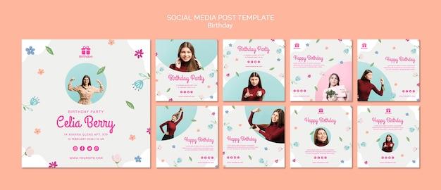 Feliz cumpleaños con publicación de redes sociales de mujer joven PSD gratuito