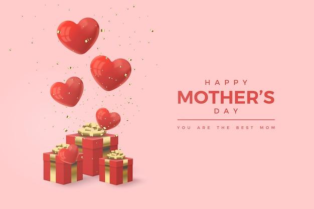 Feliz día de la madre con ilustración de cajas de regalo rojas y globos de amor PSD Premium