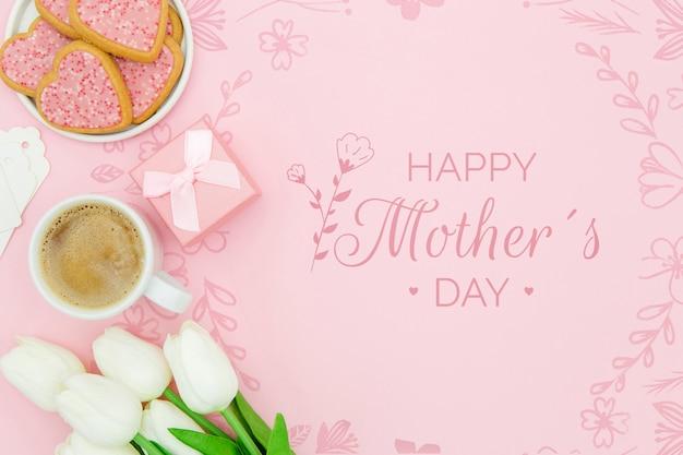 Feliz día de la madre con taza de café y galletas PSD gratuito