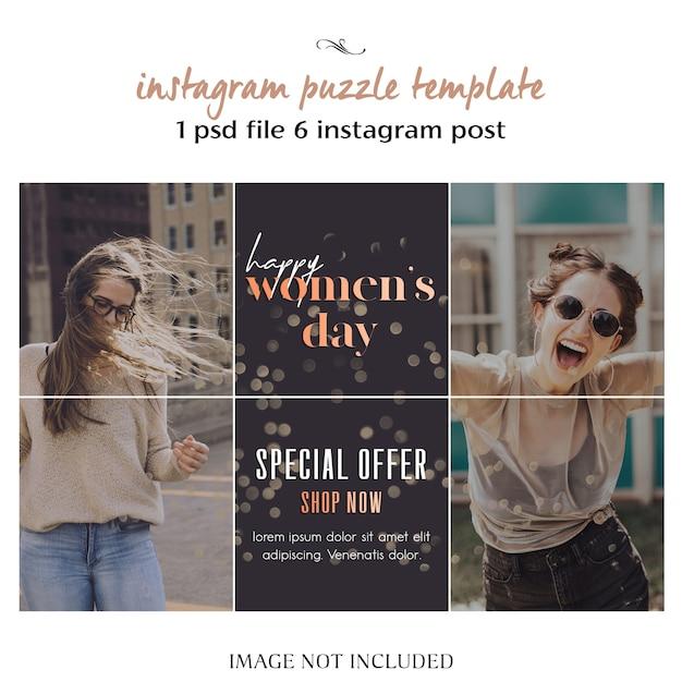 Feliz día de la mujer y plantilla de rompecabezas, cuadrícula o collage de instagram para el 8 de marzo PSD Premium