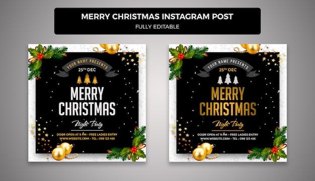 Feliz navidad y feliz año nuevo plantilla de banner de publicación de redes sociales PSD Premium