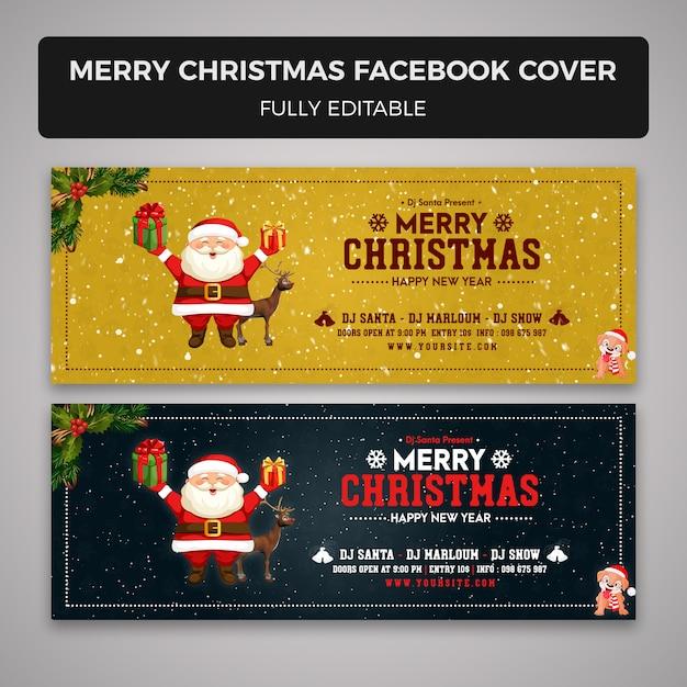 Feliz navidad plantilla de portada de facebook PSD Premium