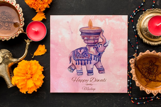 Festival hindú de diwali de maqueta con elehpant de acuarela en papel cuadriculado PSD gratuito