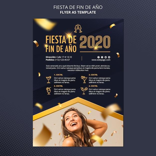 Fiesta de fin de ano flyer-sjabloon Gratis Psd