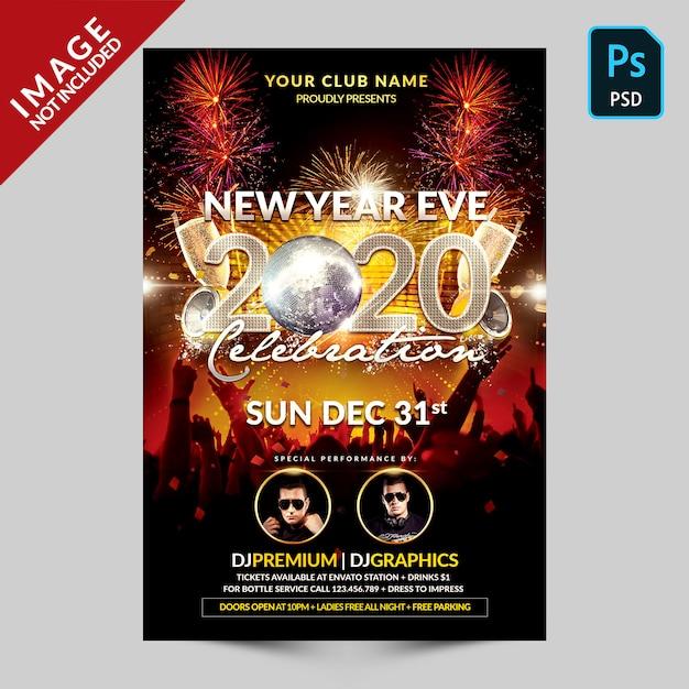 Fiesta de música celebración de año nuevo PSD Premium