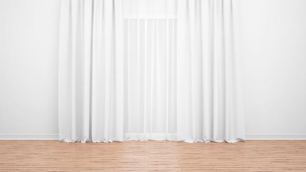 Fijne witte gordijnen, witte muur en houten vloer. lege ruimte als achtergrond Gratis Psd