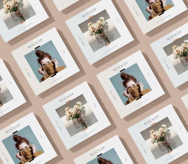 Filas y columnas de maqueta de revista editorial PSD gratuito