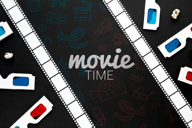 Filmtijd met filmstrook en 3d glazen Gratis Psd