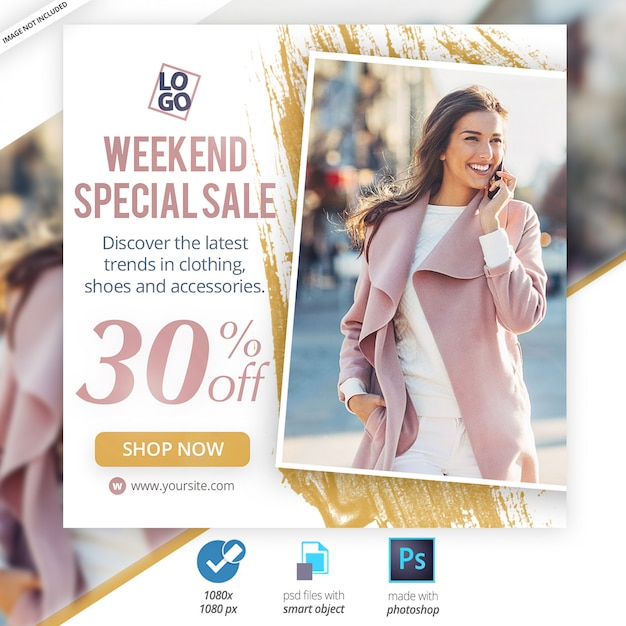 Fin de semana venta especial redes sociales banners web PSD Premium